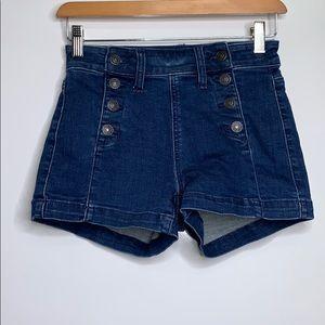 AMERICAN EAGLE • Hi-Rise Button Denim Shorts